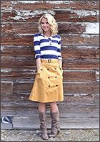 Trench Button Skirt Stripe Top