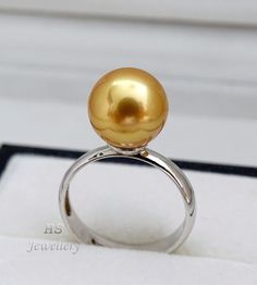 HS #Golden South Sea Cultured #Pearl 10.85mm #Ring 925 #Sterling #Silver Top #Jewelry #Anniversary #Bridal #Birthday