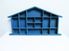 Large Wood display case, Shadow Box Miniature display case, House Shaped Shelf, Treasure Display, Printers Drawer, Kids Room Decor blue by EbyVintage on Etsy