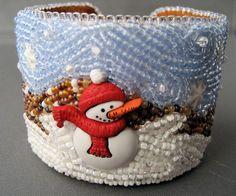 Snowman Bead Embroidery Cuff