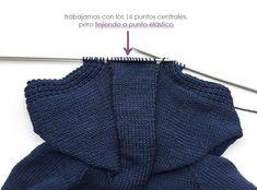 Chaqueta de punto marinera DIY - Tutorial y patrón Diy Crafts Knitting, Easy Knitting Patterns, Coat Patterns, Crochet For Boys, Crochet Baby, Knit Crochet, Baby Boy Cardigan, Knitting For Beginners, Baby Sweaters