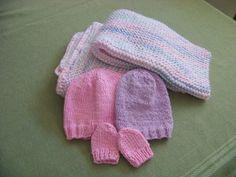 Knitted premature baby items.