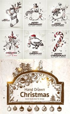 Decorative #Christmas greeting cards #vector