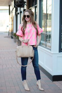 Valentine's Day Style//Pink Gingham, ruffle sleeves, J.Crew, pink gingham top, fashion blogger Rachel Puccetti Between Two Coasts