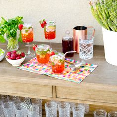 Strawberry Mojitos Recipe by @Sarah Chintomby Yates / A House in The Hills | Barware by @Elise West elm