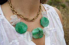 Green Agate Statement Necklace with Chrystals by AtonementDesign, $68.00