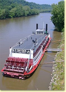 """W. P. SNYDER JR.  Ohio River Museum - the last intact steam-powered """"pool-type"""" stern-wheeled towboat in the United States."""