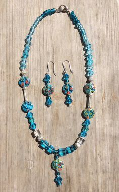 Millefiori circles necklace and earring set by ericacatlett on Etsy