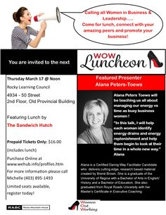 This is one WOW luncheon in Rocky Mountain House you don't want to miss! Featuring guest speaker Alana Peters-Toews! Tickets available online at www.wehub.info/profiles.htm Professional Profile, Guest Speakers, Community Events, Promote Your Business, Business Women, Leadership, Mountain, Learning, House