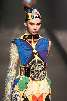 Zuma Press | Talk about a different interpretation on the classic butterfly look, right? This is from Toshikazu Iwaya. | Japan Fashion Week
