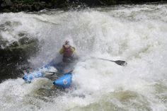 Brian & Candace B as Lochsa Falls surges around her MDM 2014. Lochsa River, ID.