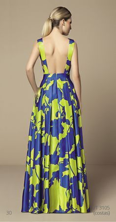 Yellow and blue long printed dress - LadyStyle