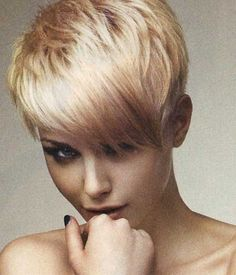 Blonde pixie hair