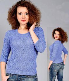 Пуловер узором ромбы Размер: 42. https://vyazaniye.com/item/pulover-uzorom-romby.html - Светлана Коваль - Google+