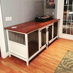 Beautiful Dog Kennel with Cherry wood top, XLarge double size, custom order