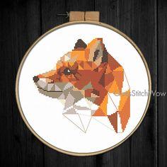 Fox cross stitch pattern, Modern cross stitch pattern, Geometric fox, Animals cross stitch, Woodland, Xstitch, Ginger