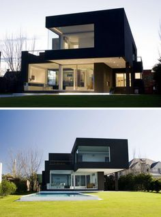 House Exterior Colors – 14 Modern Black Houses From Around The World | Despite the all black exterior this house is kept bright with large windows all over the exterior.