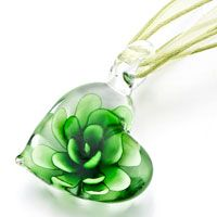Heart Green Flower Murano Glass Pendant Necklace, Necklace & Pendants, Theme Pendant | Pugster.com