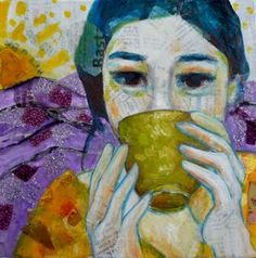 A tea in the Cevennes- mixed media on canvas- Leo-vinh- 20x20cm- 2013