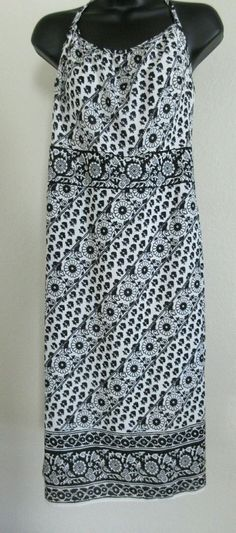 Ann Taylor Loft Womens Dress Size 8 Black & White Floral Halter 100% Poly~EUC~ #AnnTaylorLOFT #SummerBeach