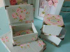 DIY kit three mini boxes fabric covered cartonnage por Cornsant