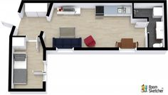 YOU DECIDE -- A better college dorm or first apartment?  Visualize any living space in 3D:  http://www.roomsketcher.com/   3D floor plan for an apartment or college dorm designed in RoomSketcher Business Edition by Eiendoms Visualizing   #3DMyHome #spaces #lifestyle