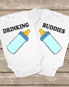 Drinking Buddies Onesie Funny Twins Baby Gifts Onesies Set Girls Boys Matching Twin Outfits shirt on Etsy, $30.00