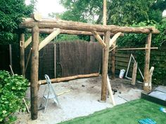 Pergola Ideas For Small Backyards Code: 6535940273 Patio Pergola, Curved Pergola, Pergola Ideas, Rustic Outdoor Bar, Outdoor Fire, Log Shed, Loafing Shed, Firewood Shed, Mediterranean Garden