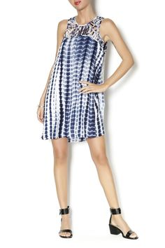 Lightweight navy and white tie dye dress