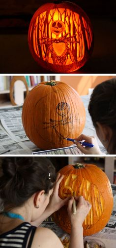 Nightmare Before Christmas Jack-o-Lantern | Click for 27 DIY Halloween Decorating Ideas for Kids