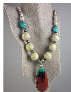 Sterling silver and Kingman turquoise with howlite and Sonora Sunset pendant