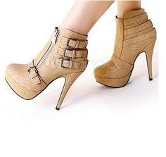 Cute vanilla, nude high heel boots