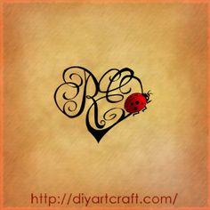 Monogram RE #heart #ladybug #tattoo