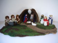 Wet  felted  Nativity Stable. Waldorf .. $88.00, via Etsy.