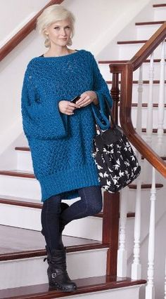 Sassy Knit Tunic | I'd change the sleeves to resemble the bottom edge. And the color.