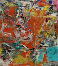 """Composition (1955), Willem de Kooning. de Kooning made this work on the cusp between his 'Women' series and 'Abstract Urban Landscapes' series, and said of this work """"the landscape is in the Woman and there is Woman in the landscape."""" Living in downtown New York at the time, he used rapid brushstrokes and garish hues of red, turquoise and yellow to express the chaotic pace of urban life."""