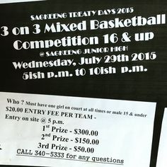 3on3 Coed Basketball Tourney on Wed July 29 at Sagkeeng Jr High for ages 16