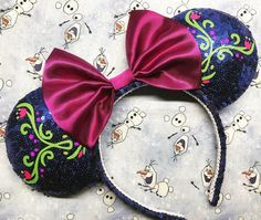 Frozen's Princess Anna Inspired Mickey Ears! Diy Disney Ears, Disney Mickey Ears, Disney Hair, Minnie Mouse, Frozen Headband, Diy Headband, Ear Headbands, Micky Ears, Disney Diy Crafts