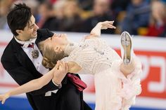 Kaitlyn Weaver and Andrew Poje of Canada skate during the Ice Dance short dance at the ISU World Figure Skating Championships at TD Garden in Boston, Massachusetts, March / AFP / Geoff Robins Kaitlyn Weaver, Ice Dance Dresses, Td Garden, World Figure Skating Championships, Dance Shorts, Figure Skating Dresses, Boston Massachusetts, Robins, Ice Skating