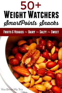 Weight Watchers SmartPoints Snacks are easy to manage with this amazing list of over 50 suggestions! Arranged by point value and type of snack for ease!
