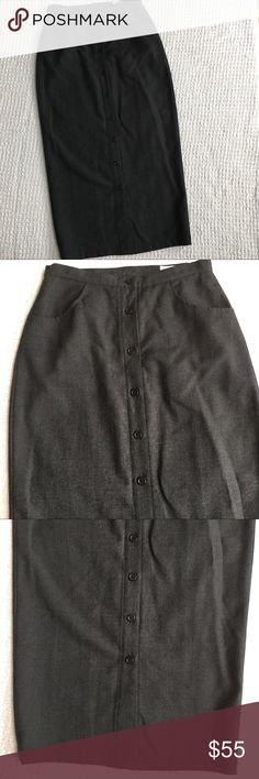 """J. Crew Gray Button Front Wool Long Pencil Skirt Brand: J. Crew  Size: 6  Condition: Excellent  Color: Gray  Material: 100% wool shell, 100% acetate lining  Measurements: 13.25"""" across waist, 34"""" total length.   Buttons down the front. Smoke-free home. J. Crew Skirts Midi"""