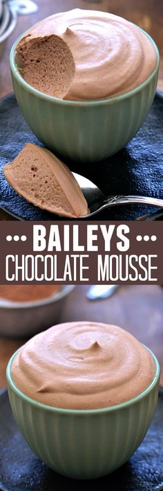 Deliciously light, fluffy chocolate mousse infused with the sweet flavor of Bail. Deliciously light, fluffy chocolate mousse infused with the sweet flavor of Bailey& Irish Cream. Perfect for the holidays! Easy Desserts, Delicious Desserts, Dessert Recipes, Yummy Food, Irish Desserts, Drink Recipes, Light Desserts, Irish Food Recipes, Moose Recipes