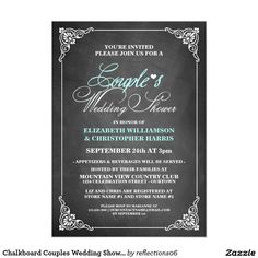 Chalkboard Couples Wedding Shower Invitations. Elegant Chalkboard wedding Shower Invitation Templates. Classy couples shower invitations that you can order online. Customized for the new bride to be. Elegant bridal shower invitation that feature a nice chalkboard background, great design and typography. Click image to customize. Feel free to like or repin.