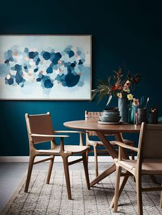 How to: Create a minimalist interior with Barnaby Lane - The Interiors Addict Interior Desing, Interior Inspiration, Interior Office, Room Interior, Modern Interior, Blue Rooms, Blue Walls, Dining Room Blue, Dining Chairs