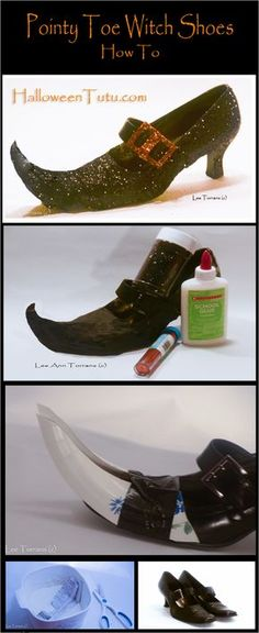 How to Make Pointy Toe Witch Shoes * Repurposed Dress Shoes / Pumps * DIY Paper Mache Halloween Decor! Halloween Costume Shoes, Witch Costumes, Halloween Crafts, Halloween Party, Vintage Halloween, Witch Party, Halloween Makeup, Halloween Witches, Vintage Witch