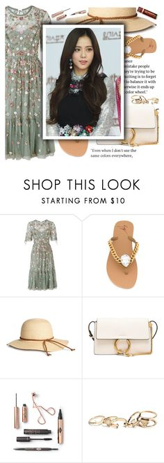 """""""Untitled #2361"""" by anarita11 ❤ liked on Polyvore featuring Needle & Thread, Giuseppe Zanotti, Chloé, GUESS and Disney"""