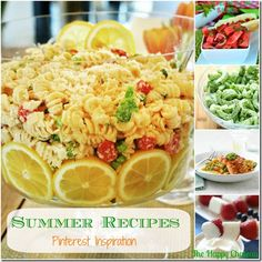summer food collage with text