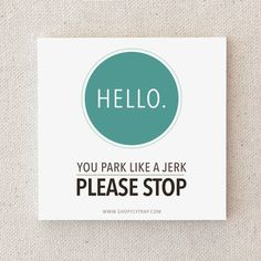 """Funny Stocking Stuffer. Under 10. For Man, Woman. Cheap Gift. Parking Notes. Road Rage. Parking Ticket. Cool. """"Park Like A Jerk"""" (NSN-X025) on Etsy, $5.00"""