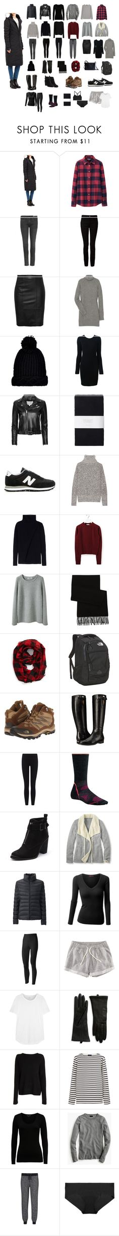 """Europe Winter Packing List"" by thecchange ❤ liked on Polyvore featuring Canada Goose, Uniqlo, rag & bone, Alexander Wang, Stand, Michael Kors, River Island, IRO, Toast and New Balance"