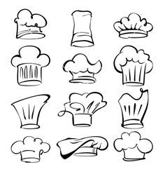 aa08ed4144a Chef hats collection cartoon vector image on VectorStock